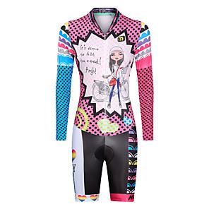 cheap Triathlon Clothing-Malciklo Women's Long Sleeve Triathlon Tri Suit Winter Lycra Pink Dot Rainbow Cartoon Bike UV Resistant Breathable Quick Dry Moisture Wicking Reflective Strips Sports Dot Mountain Bike MTB Triathlon