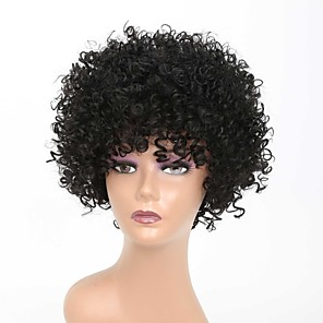 cheap Synthetic Trendy Wigs-Synthetic Wig Afro Curly Rihanna Free Part Wig Short Black#1B Synthetic Hair 10 inch Women's Classic Easy to Carry Easy dressing Black / Natural Hairline / Natural Hairline / For Black Women