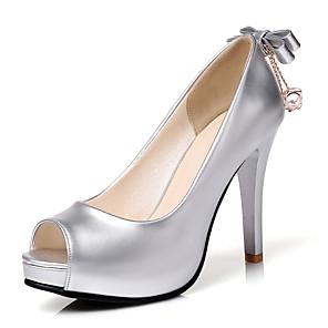 cheap Women's Heels-Women's Heels Stiletto Heel Peep Toe Bowknot PU British / Minimalism Spring & Summer Gold / Silver / Fuchsia / Wedding / Party & Evening / Party & Evening