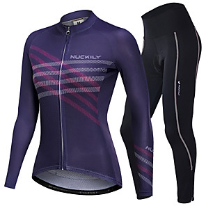 cheap Cycling Jerseys-Nuckily Women's Long Sleeve Cycling Jersey with Tights Winter Fleece Polyester Spandex Purple Stripes Gradient Bike Clothing Suit Breathable Sports Stripes Mountain Bike MTB Road Bike Cycling
