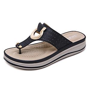 cheap Women's Boots-Women's Slippers & Flip-Flops Wedge Heel Open Toe PU Vintage / Casual Summer Black / Almond / Khaki