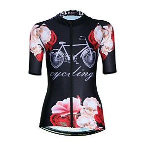 cheap Cycling Jerseys-ILPALADINO Women's Short Sleeve Cycling Jersey Elastane Black Floral Botanical Bike Jersey Top Road Bike Cycling UV Resistant Quick Dry Moisture Wicking Sports Clothing Apparel