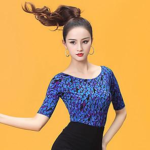 cheap Ballroom Dancewear-Ballroom Dance Top Ruching Women's Performance Half Sleeve Ice Silk