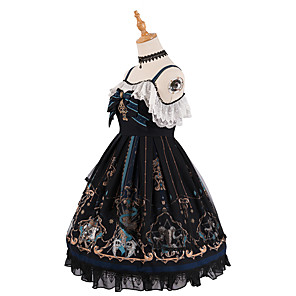 cheap Lolita Dresses-Artistic / Retro Elegant Gothic Dress Halloween Props Party Costume Masquerade All Japanese Cosplay Costumes Black Bowknot Skull Devil Sleeveless Sleeveless Knee Length Medium Length