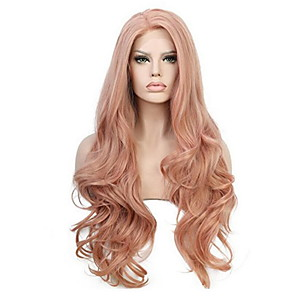 cheap Synthetic Trendy Wigs-Synthetic Wig Curly With Bangs Wig Pink Long Orange Synthetic Hair 70 inch Women's Women Pink