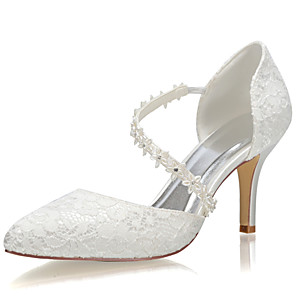 cheap Wedding Shoes-Women's Satin Spring &  Fall / Summer Wedding Shoes Stiletto Heel Closed Toe Ivory / Party & Evening