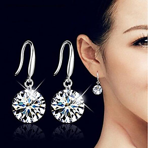 cheap Earrings-Women's Cubic Zirconia Drop Earrings Classic Stylish Simple Silver Plated Earrings Jewelry Silver For Wedding Daily Work 1 Pair