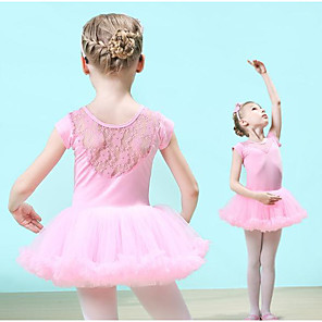 cheap Kids' Dancewear-Kids' Dancewear Ballet Dress Lace Girls' Training Short Sleeve Natural Lace Cotton