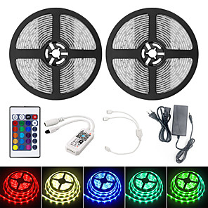 cheap LED Strip Lights-BRELONG 10M Smart WIFI LED Light Strips RGB Tiktok Lights SMD 2835 9mm Light With 24Keys 600LED IP65 Waterproof DC12V With 5A EU Power