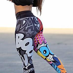 baratos Roupas para Corrida, Ioga & Fitness-Mulheres Cintura Alta Calças de Yoga Leggings Butt Lift Pavio Humido Arco-íris Elastano Esportes Roupas Esportivas Com Stretch