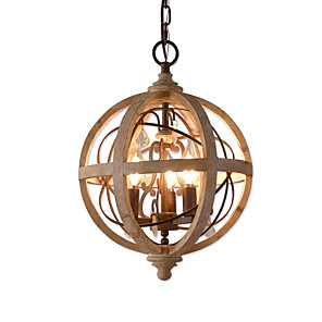 cheap Outdoor IP Network Cameras-Ecolight 3-Light 30 cm Candle Style / Tree Chandelier Wood / Bamboo Candle-style / Globe / Drum Wood Vintage / Traditional / Classic 110-120V / 220-240V