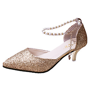 cheap Women's Heels-Women's Heels Glitter Crystal Sequined Jeweled Kitten Heel Pointed Toe Pearl / Buckle Patent Leather British Spring & Summer Gold / Silver / Black / Daily / 2-3