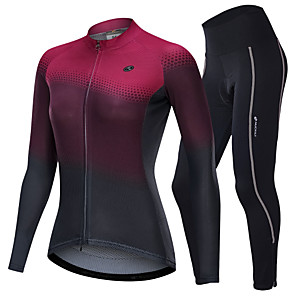 cheap Cycling Jersey & Shorts / Pants Sets-Nuckily Women's Long Sleeve Cycling Jersey with Tights Winter Fleece Polyester Spandex Burgundy Dark Gray Gradient Bike Clothing Suit Breathable Sports Reactive Print Clothing Apparel / Micro-elastic