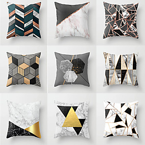 cheap Christmas Decorations-1 pcs Polyester Pillow Cover, Geometic Neoclassical Square Traditional Classic