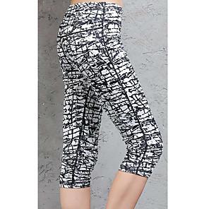 cheap Historical & Vintage Costumes-Women's High Waist Yoga Pants Capri Leggings Butt Lift Quick Dry Stripes Black / White Running Dance Fitness Sports Activewear High Elasticity