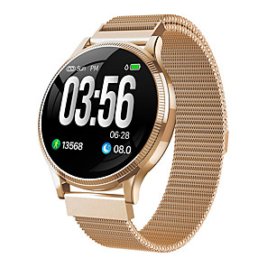 cheap Smartwatches-MK08 Smartwatch Stainless Steel BT Fitness Tracker Support Notify Ultra-thin Round Smartwatch for Samsung/ IPhone/ Android Phones
