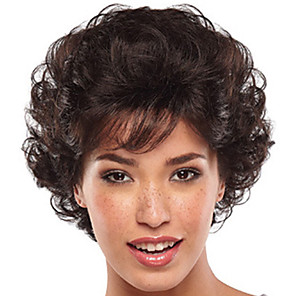 cheap Synthetic Trendy Wigs-Synthetic Wig Bangs Curly Free Part Wig Short Brown / Burgundy Synthetic Hair 12 inch Women's Women Synthetic For Black Women Dark Brown
