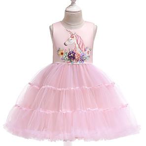 cheap Movie & TV Theme Costumes-Kids Girls' Active Street chic Unicorn Solid Colored Sleeveless Knee-length Dress Blue