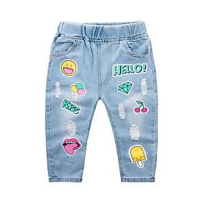 cheap Boys' Pants-Kids Boys' Basic Street chic Geometric Print Cotton Jeans Blue