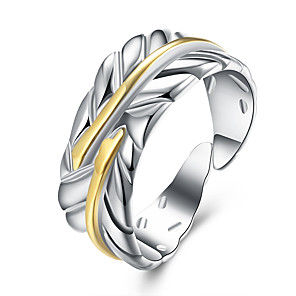 cheap Necklaces-Women's Open Ring Adjustable Ring 1pc Silver Brass Silver Plated Round Stylish Simple Daily Work Jewelry Cut Out Feather Cool