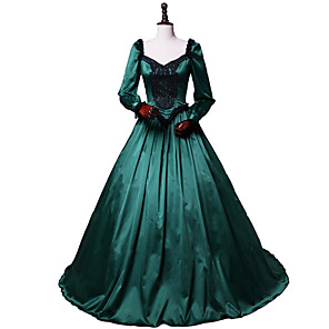 cheap Historical & Vintage Costumes-Princess Rococo Victorian Dress Party Costume Costume Women's Cotton Costume Dark Green Vintage Cosplay Masquerade Party & Evening Long Sleeve Floor Length Long Length Plus Size