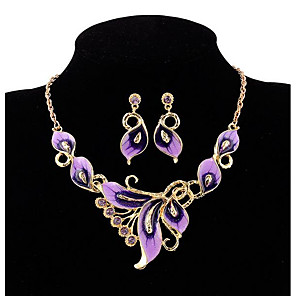 cheap Jewelry Sets-Women's Stud Earrings Choker Necklace 3D Butterfly Vintage Bohemian Rhinestone Gold Plated Earrings Jewelry Black / Purple / Rainbow For Party Street 1 set
