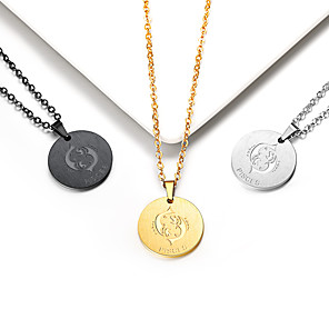 cheap Historical & Vintage Costumes-Women's Pendant Necklace Necklace Coin Pisces Gemini Simple Trendy Fashion 18K Gold Plated Titanium Steel Black Gold Silver 55 cm Necklace Jewelry 1pc For Gift Daily School / Charm Necklace