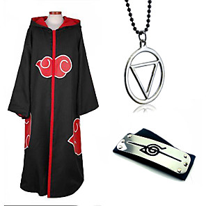cheap Anime Costumes-Inspired by Naruto Akatsuki Anime Cosplay Costumes Japanese Cosplay Suits Cosplay Accessories Solid Colored Long Sleeve Necklace Headband Hoodie Cloak For Men's Women's