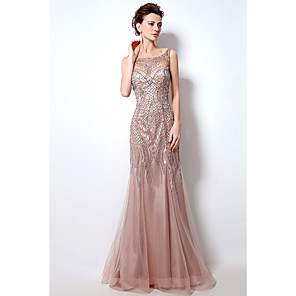 cheap Prom Dresses-Mermaid / Trumpet Beautiful Back Sparkle & Shine Formal Evening Dress Boat Neck Sleeveless Court Train Tulle with Crystals Beading Sequin 2020