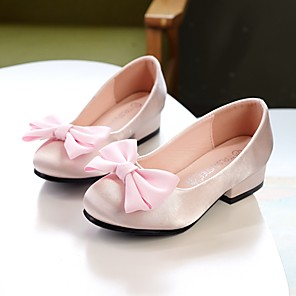 cheap Kids' Tiny Heels-Girls' Flower Girl Shoes / Tiny Heels for Teens Satin Heels Retro Toddler(9m-4ys) / Little Kids(4-7ys) / Big Kids(7years +) Bowknot Champagne / Ivory / Light Pink Summer / Fall / Wedding / Wedding
