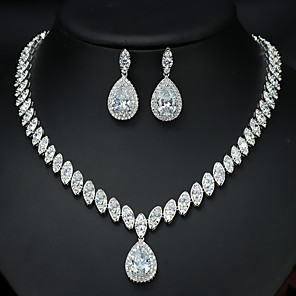 cheap Jewelry Sets-Women's AAA Cubic Zirconia Bridal Jewelry Sets Fancy Love Luxury Vintage Cute Platinum Plated Earrings Jewelry White For Wedding Party 1 set