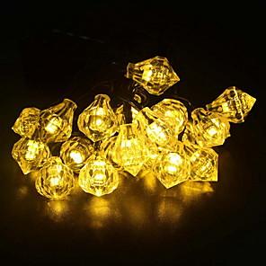 cheap LED String Lights-6.8m String Lights 30 LEDs 1 set Warm White Solar Decorative Solar Powered