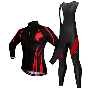 cheap Cycling Jersey & Shorts / Pants Sets-WOSAWE Men's Long Sleeve Cycling Jersey with Bib Tights Winter Fleece Polyester Silicone Black / Red Patchwork Bike Jersey Thermal / Warm Fleece Lining 3D Pad Reflective Strips Sports Patchwork