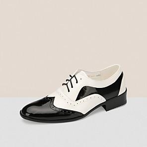 cheap Ballroom Shoes & Modern Dance Shoes-Men's Dance Shoes Patent Leather Modern Shoes Flat Low Heel Customizable Black / White / Performance / EU43