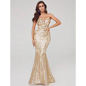 cheap Evening Dresses-Mermaid / Trumpet Elegant Sexy Formal Evening Dress Spaghetti Strap Sleeveless Sweep / Brush Train Sequined with Sequin 2020