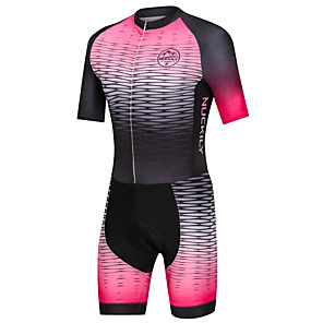 cheap Triathlon Clothing-Nuckily Men's Triathlon Tri Suit Pink Gradient Bike Windproof Breathable Quick Dry Sports Spandex Geometric Mountain Bike MTB Road Bike Cycling Clothing Apparel / Micro-elastic / Race Fit