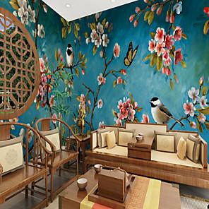cheap Wallpaper-Blue Background Flowers Birds Suitable for TV Background Wall Wallpaper Murals Living Room Cafe Restaurant Bedroom Office XXXL(448*280cm