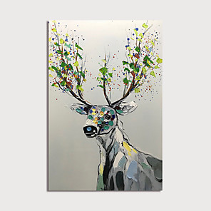 cheap Abstract Paintings-Oil Painting Hand Painted - Animals Modern Stretched Canvas