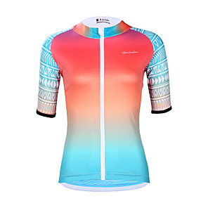 cheap Cycling Jerseys-ILPALADINO Women's Short Sleeve Cycling Jersey Elastane Pink Gradient Bike Jersey Top UV Resistant Quick Dry Moisture Wicking Sports Clothing Apparel