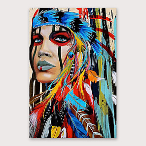 cheap Abstract Paintings-Oil Painting Hand Painted People Modern Stretched Canvas With Stretched Frame