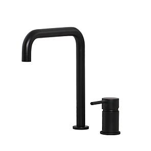 cheap Multi Holes-Unique Bathroom Sink Faucet - Widespread Black Widespread Single Handle Two HolesBath Taps