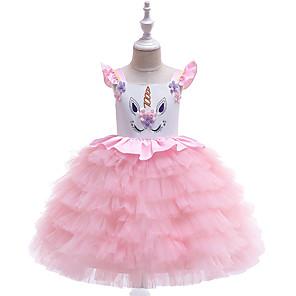 cheap Movie & TV Theme Costumes-Kids Girls' Active Sweet Unicorn Patchwork Layered Sleeveless Knee-length Dress White