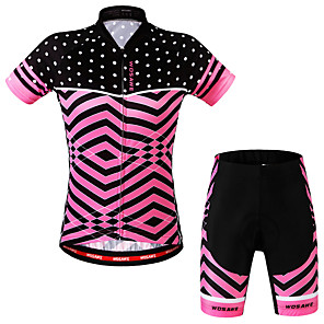 cheap Cycling Jersey & Shorts / Pants Sets-WOSAWE Women's Short Sleeve Cycling Jersey with Shorts - Fuchsia Plus Size Bike Shorts Jersey Clothing Suit 3D Pad Sports Scales Mountain Bike MTB Road Bike Cycling Clothing Apparel / Advanced