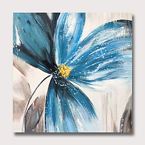 cheap Abstract Paintings-Oil Painting Hand Painted - Abstract Floral / Botanical Classic Modern Rolled Canvas
