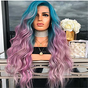 cheap Synthetic Trendy Wigs-Synthetic Wig kinky Straight Middle Part Wig Ombre Long Rainbow Synthetic Hair 26 inch Women's Women Ombre
