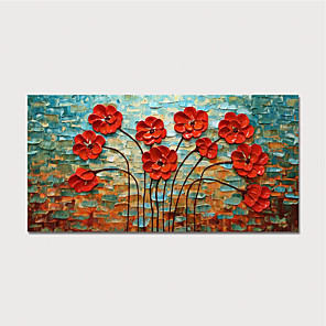 cheap Still Life Paintings-Oil Painting Hand Painted - Floral / Botanical Modern Stretched Canvas
