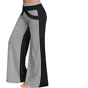 cheap Women's Boots-Women's Plus Size Wide Leg Pants - Color Block Patchwork White Blue Gray S / M / L