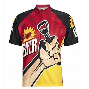 cheap Cycling Jerseys-21Grams Men's Short Sleeve Cycling Jersey Red / Yellow Retro Oktoberfest Beer Bike Jersey Top Mountain Bike MTB Breathable Quick Dry Moisture Wicking Sports Clothing Apparel / Micro-elastic