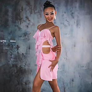 cheap Latin Dancewear-Latin Dance Dress Tassel Ruching Women's Performance Sleeveless Spandex