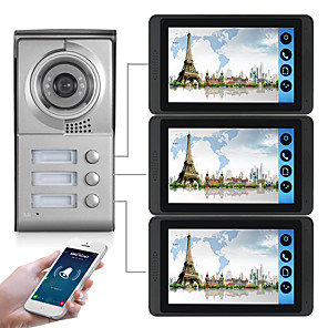 cheap Video Door Phone Systems-618MC13 7 inch capacitive touch screen video camera wired video doorbell wifi / 3G / 4G remote call unlock storage visual intercom three-bedroom